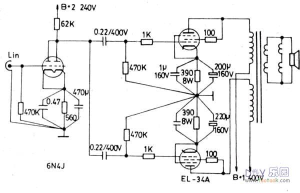 6n4+el34电子管并联单端胆机功放打摩记